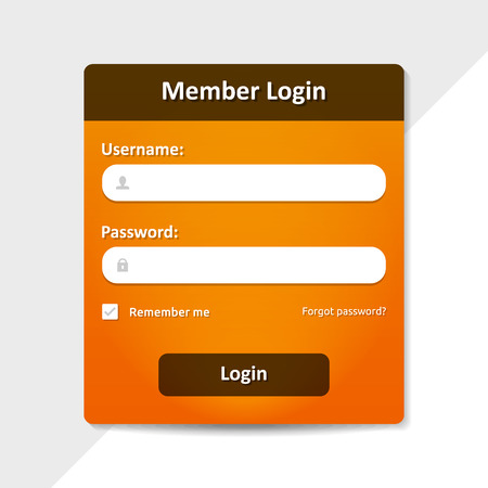 username: Member login template - username password and sign up  Illustration