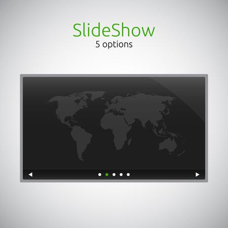 Slideshow for website - dark theme - template Vector