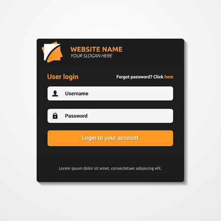 Member login template - username password and sign up