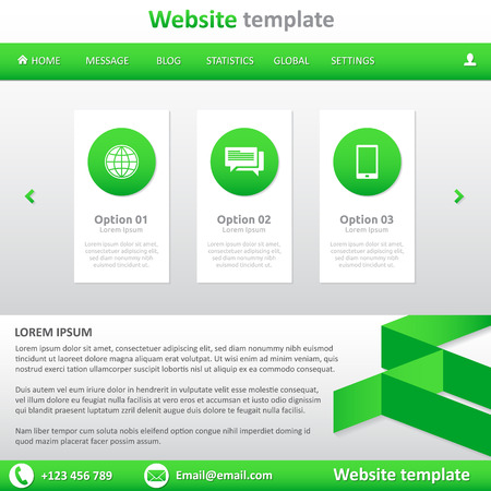 slideshow: Website template white and green - natural - slideshow, footer, horizontal menu