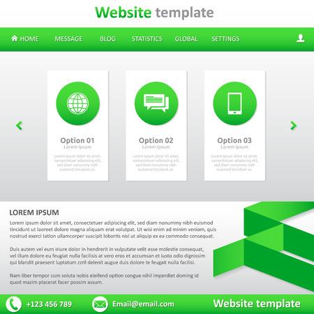 slideshow: Website template white and green - natural - slideshow, footer, horizontal menu