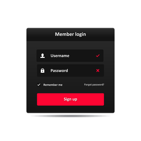 Member login template - username password and sign up  Vector