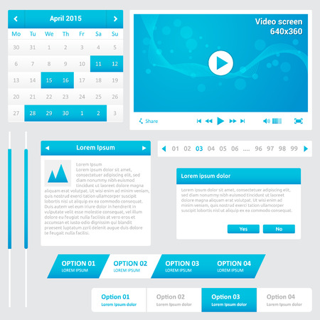 Website elements - design template for your web page - blue and white color - calendar, pagination, video player, horizontal menu, scroll bars, dialog box