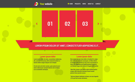 Website template (elements) with horizontal menu and slideshow lime color