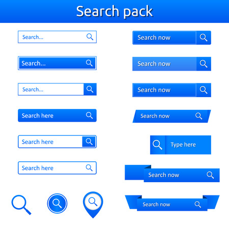 Search bars - pack 16x - website elements - blue