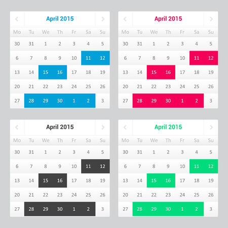 Website calendar - white color - template for your page - 4 colors