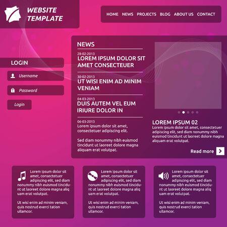 diaporama: R�sum� opacit� site mod�le avec le logo, le menu horizontal, diaporama, membre connexion et les options Illustration