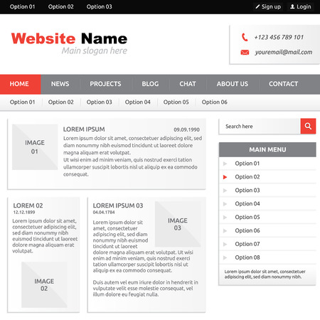 Website template (elements) with options, vertical menu, search box and horizontal menu