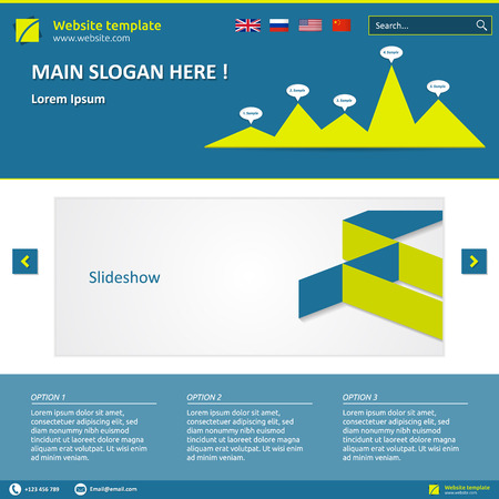 slideshow: Website template (elements) with options, search box, slideshow and graph