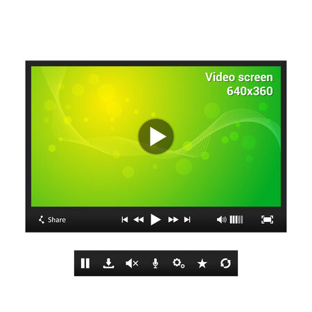 Video player - dark theme with abstract wallpaper - symbols - website element Vector