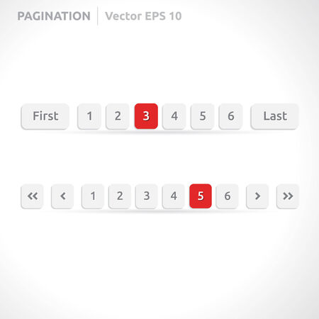 Pagination bars | color red and white | abstract vector design | website element | paper silver look