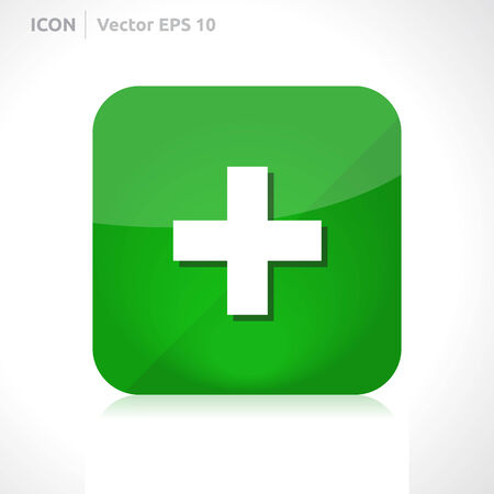 Add plus icon | vector design template | color green | icon set | abstract with symbol |