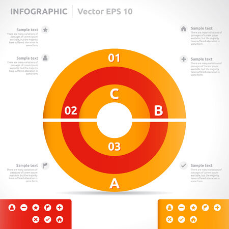 Infographic template | color - orange and red | abstract vector design | graphic layout | icon arrow label | business