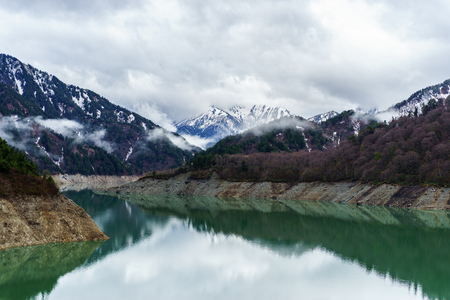 Mountain and lake in Kurobe Dam, Tateyama Kurobe Alpine Route, Japan