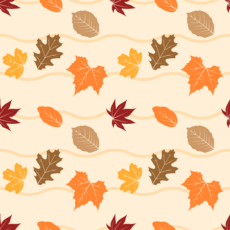 Autumn leaves seamless pattern vector illustration