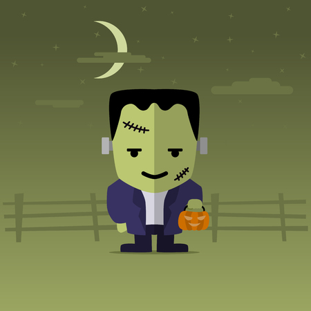 Happy Halloween with funny catoon Frankenstein. Vector illustration flat design Ilustrace