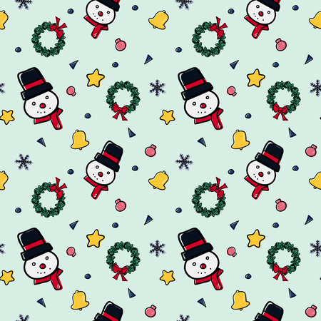Christmas theme random repeat pattern vector illustration, Seamless pattern