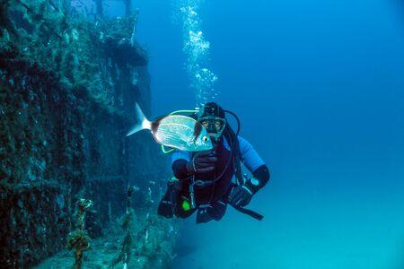 Diver and shipwreck. Фото со стока
