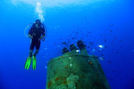 Scuba Diver and Wreck