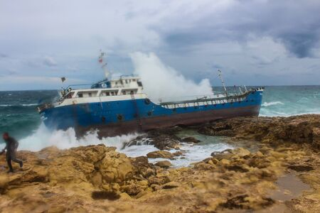 Ship aground on the Maltese coast.