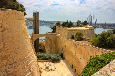 Barrakka Lift and Valletta ditch towards the Grand Harbour