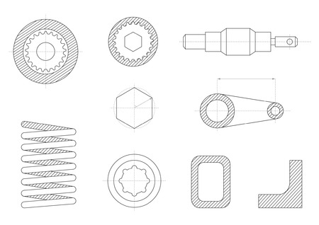 drawings of mechanical parts, gears and mechanisms Vector