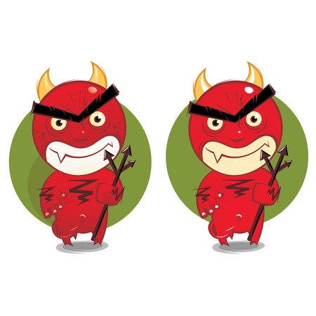 Cartoon devil in two variations on green background