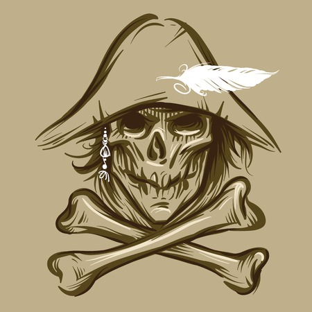 Skull of the pirate with a feather in a hat and pearls in hair Vector
