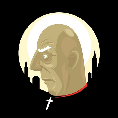 shaved head: City The elderly sacred father with a cross on a neck against a sunset in a megacitySaint