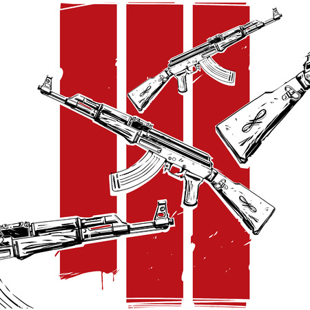 bloodshed: ak-47 poster stop the war and bloodshed Illustration