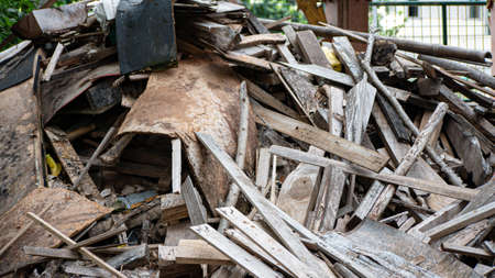 Close up pile of wood wastes and other trash