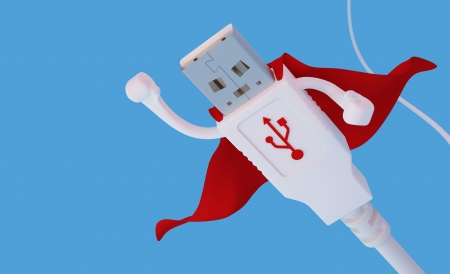 3D render of an USB super hero connector flying against light blue background photo