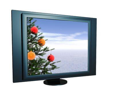Xmas tree landscape - on LCD screen. More in my portfolio. photo
