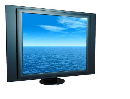 LCD monitor with sea view isolated on white background. photo