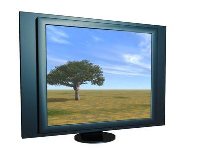 Alone tree  on LCD screen. 3D scene. photo