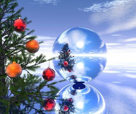 Xmas tree landscape with mirror bal l- 3d scene. More in my portfolio. Stock Photo - 857371