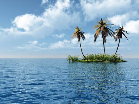 Three coconut palms and green island - 3D scene. Stock Photo - 857395