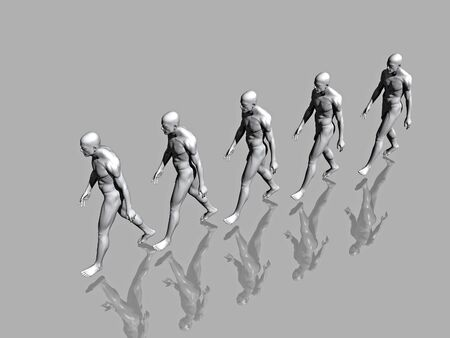 Walking team on mirror surface - 3d scene. More in my portfolio. Stock Photo - 857461