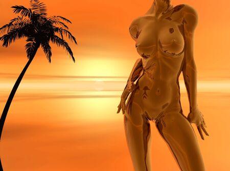 donne nude: Abstract corpo nudo donne em. palma - 3d scena