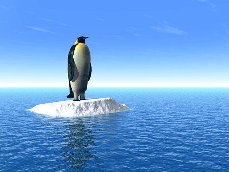 Antarktis-Pinguin auf Eis - 3D-Szene
