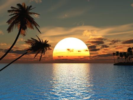 Puesta del sol palmeras de coco en la playa del océano - 3d ilustración.  Foto de archivo