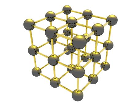 chemic: Griglia di Scienza atomico modello 3d - illustrazione digitale.