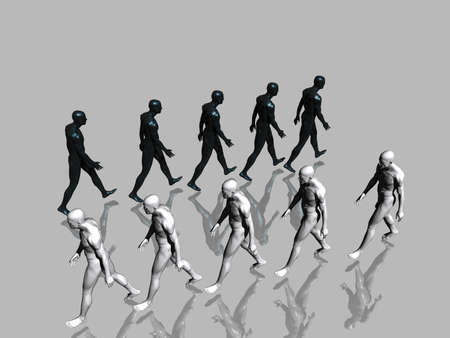 humankind: Two walking teams on mirror surface - 3d scene.  Stock Photo