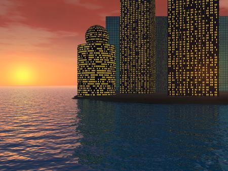condos: Fantasy city at sunset sea - digital artwork