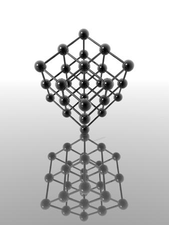 chemic: Modello di un reticolo nucleare riflette una superficie liscia - digital artwork Archivio Fotografico