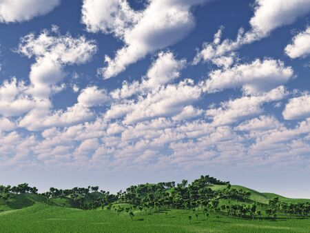 Green hills and beautiful sky  with clouds - 3d scene photo