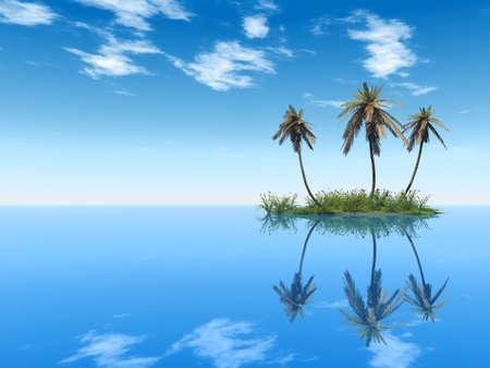 serene: Coconut palm trees on a small island - digital artwork