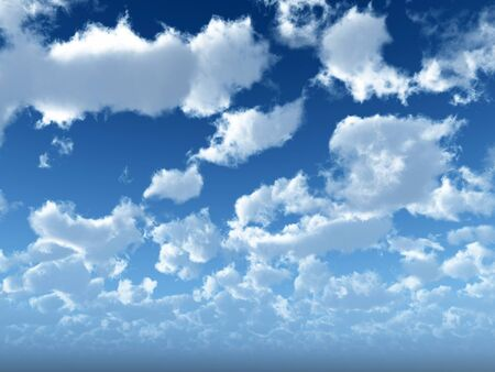 Blue sky with white clouds - digital artwork. Stock Photo - 1557808