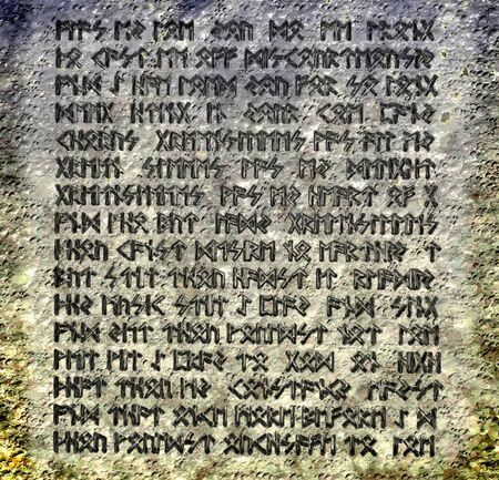 runes: Plaque de pierre avec des inscriptions magie - 3d illustration