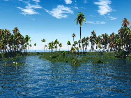 Coconut palm trees on a small island - digital artwork Stock Photo - 1557974